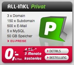 Übersicht All-inkl Privat Tarif für 4,95€ im Monat