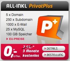 Übersicht All-inkl PrivatPlus Tarif für 7,95€ im Monat