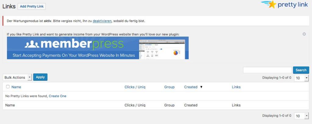 Pretty Link Lite eines der besten WordPress Plugins für cloaken und tracken von Affiliate Links