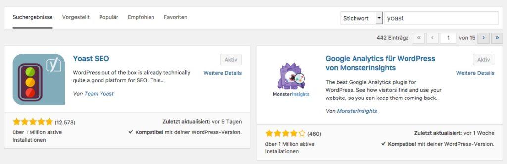 Yoast SEO WordPress Plugin in der Suche gefunden