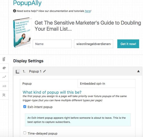 Wie-Online-Geldverdienen.de mit Hilfe des WordPress Plugins Popupally Exit intent Lösungen realisiert.