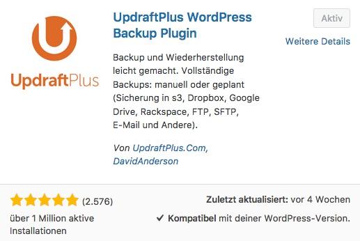 Wie-Online-Geldverdienen.de Backup und Restore Arbeiten mit dem WordPress Plugin UpdraftPlus erstellt.