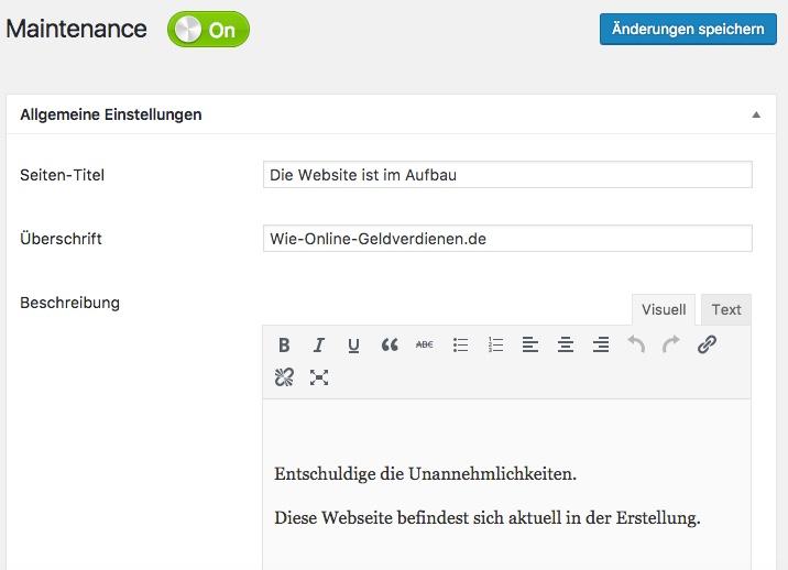 WordPress Plugin Maintenance für Wartungsarbeiten an Wie Online Geldverdienen