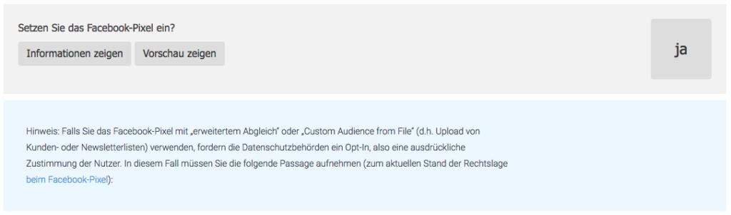 Wie-Online-Geldverdienen.de, kostenloser Datenschutz-Generator DSGVO 2018, Facebook Pixel Information