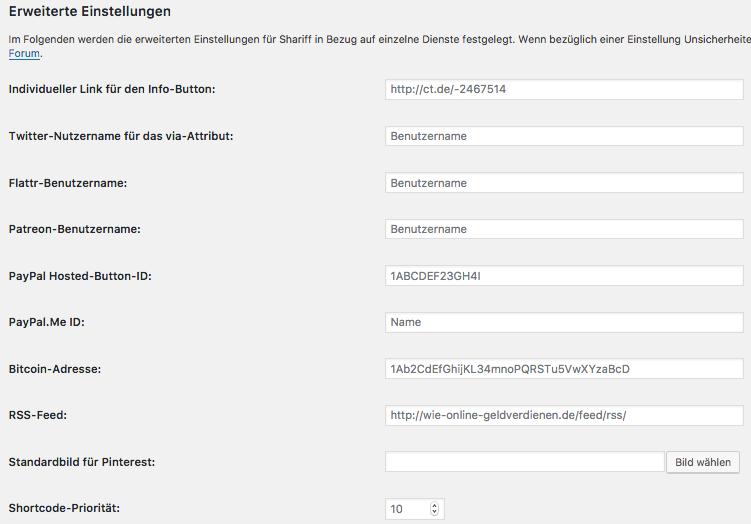 Wie-Wie-Online-Geldverdienen.de zeigt Dir wie Du Deine rechtlichen Pflichtseiten erstellst. Shariff Wrapper erweiterte Einstellungen