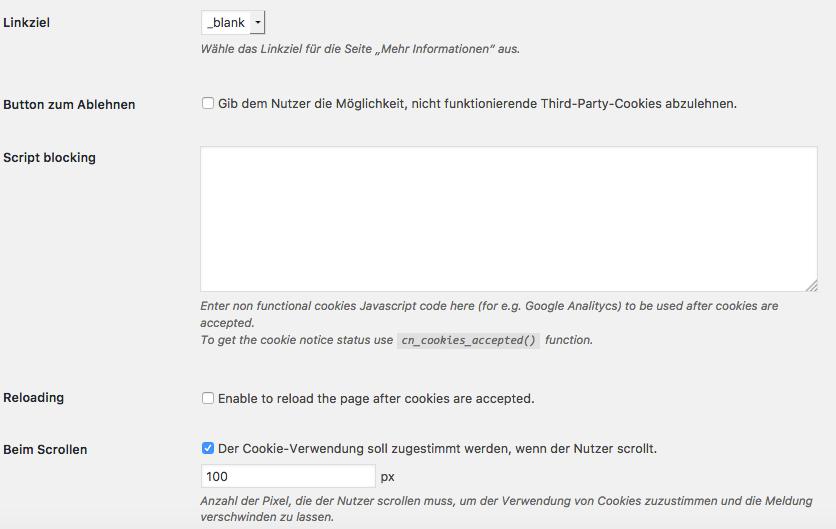 Wie-Wie-Online-Geldverdienen.de zeigt Dir wie Du Deine rechtlichen Pflichtseiten erstellst. Cookie Notice Einstellungen