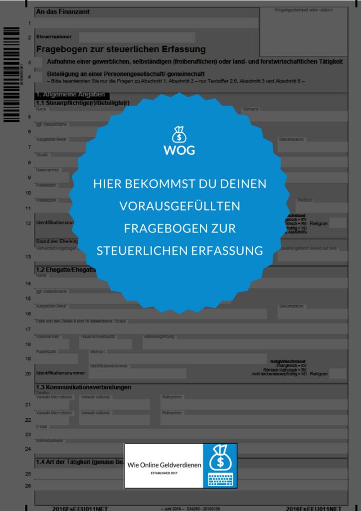 Wie-Online-Geldverdienen.de, Vorausgefüllter Fragebogen zur steuerlichen Erfassung für Affiliate Marketing
