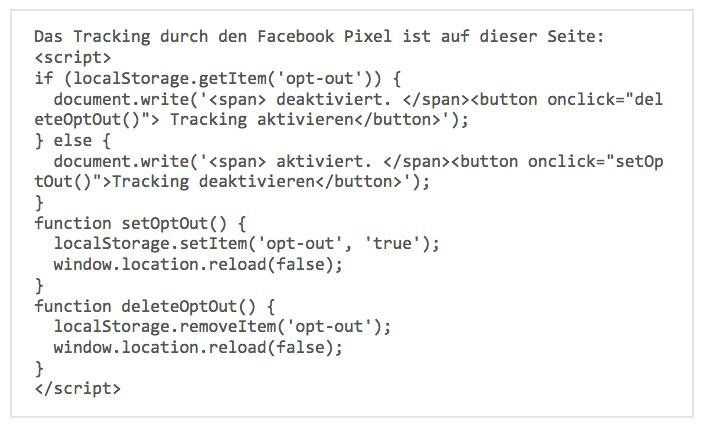 Wie-Online-Geldverdienen.de, Sript Code für den Facebook Pixel Opt-Out.