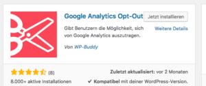 Wie-Online-Geldverdienen.de, Google Analytics Opt-Out Plugin