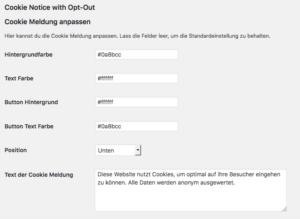 Wie-Online-Geldverdienen.de, Menü des Facebook Opt-In / Opt-Out Pixel Plugin-Teil-1