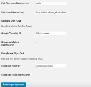 Wie-Online-Geldverdienen.de, Menü des Facebook Pixel Opt-In / Opt-Out und Google Analytics Opt-Out Plugin-Teil-2
