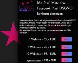Wie-Online-Geldverdienen.de, Preisübersicht des Facebook Pixel Opt-In / Opt-OutPlugin