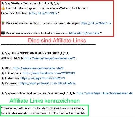 Wie-Online-Geldverdienen.de, Affiliate Marketing ohne Webseite mit YouTube, YouTube Affiliate Links einfügen und markieren