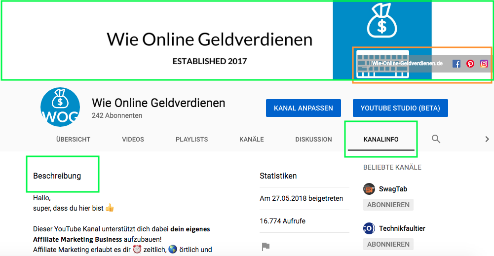 Wie-Online-Geldverdienen.de, Affiliate Marketing ohne Webseite mit YouTube, Neuen YouTube Kanal Info erstellen