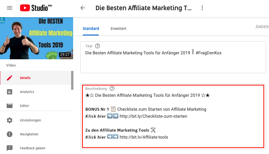 Wie-Online-Geldverdienen.de, Affiliate Marketing ohne Webseite mit YouTube, YouTube Beschreibung verwenden