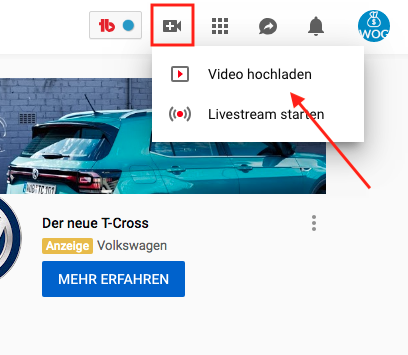 Wie-Online-Geldverdienen.de, Affiliate Marketing ohne Webseite mit YouTube, YouTube neues Video hochladen