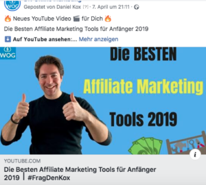 Wie-Online-Geldverdienen.de, Affiliate Marketing ohne Webseite mit YouTube, YouTube Video verbreiten Facebook