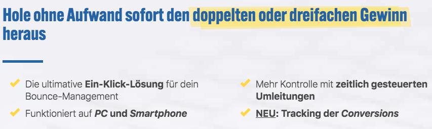 Wie-Online-Geldverdienen.de, Affiliate Marketing Einnahmen steigern mit Bounce Genie, Möglichkeiten des Bounce Plugin