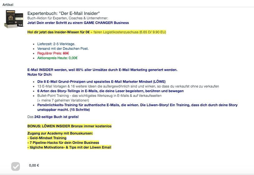 Wie-Online-Geldverdienen.de, Wie du mehr Geld mit Digistore24 verdienen kannst, E-Mail Marketing Digistore24 Bestellformular