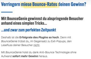 Wie-Online-Geldverdienen.de, Affiliate Marketing Einnahmen steigern mit Bounce Genie, Weshalb Bounce Genie für Affiliate Marketing geeignet ist