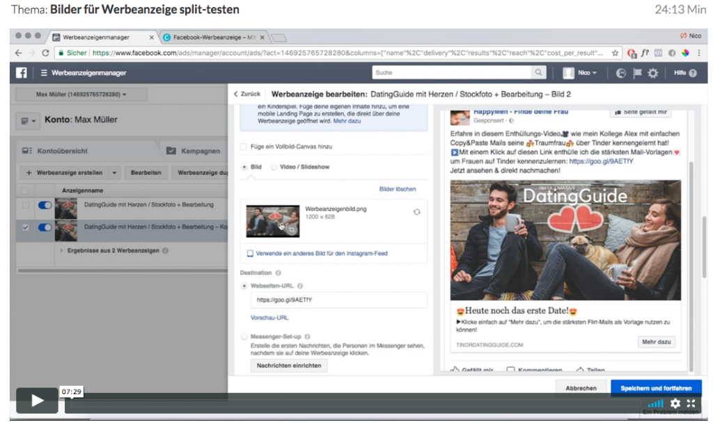 Wie-Online-Geldverdienen.de, Nico Lampe, fertige Facebook Marketing Werbeanzeige, Facebook Ads 2.0 Anleitung