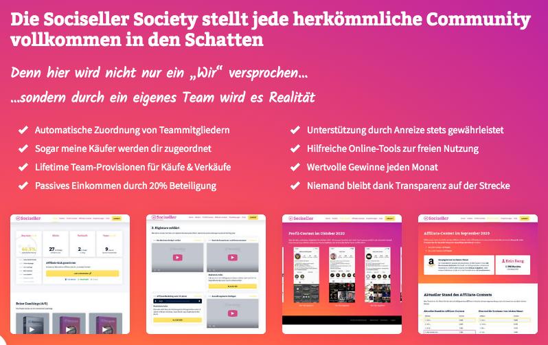 Sociseller Society Übersicht